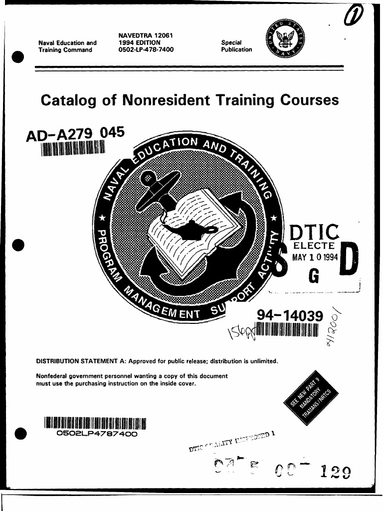 navedtra 12061 catalog of nonresident training courses 1994