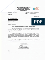 """Letter to me from Barbados Ministry of Health confirming investigation of """"Heimlich for asthma"""" study conducted on dozens of children, funded by Heimlich Institute & Cincinnati Rotary Club (7/10/13)"""