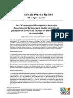 Boletín 044_ Las ESE responden al llamado de la Secretaría Departamental de Salud para liquidar contratos de prestación de servicios de salud en los diferentes niveles de complejidad.