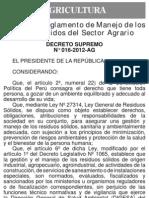 DS 016-2012-AG Regl Manejo RRSS Agrario