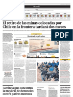 Retiro de minas colocadas por Chile en la frontera tardará dos meses.