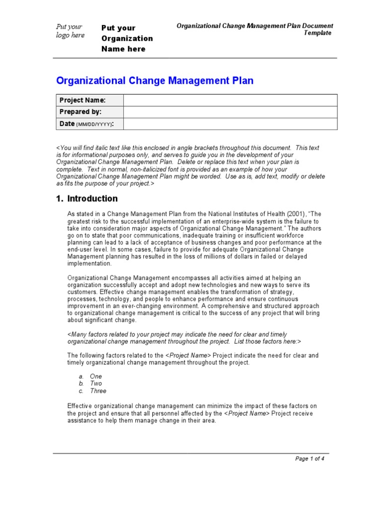 Organization Change Management Plan Template – Change Management Template Free