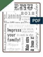 BOLD Turquoise Menu Planner 2012