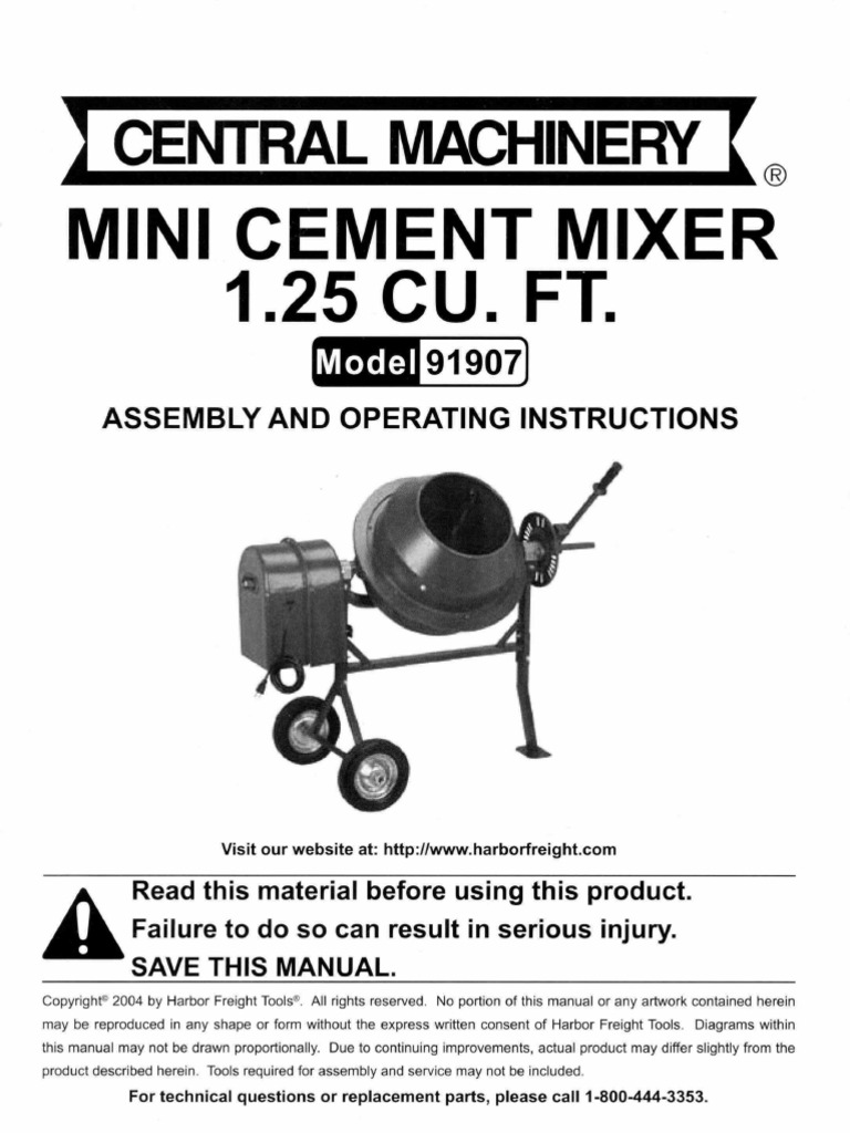 Mini Cement Mixer 1 25 Cu Ft  Model 91907 pdf | Nut