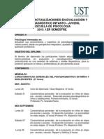 DIPLOMADO ACTUALIZACIONES EN EVALUACIÓN Y PSICODIAGNÓSTICO INFANTO (2 versión)