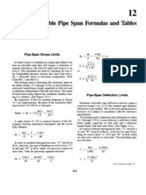 12 Allowable Pipe Span Formulas and Tables | Bending | Pipe (Fluid