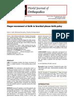 Finger Movement at Birth in Brachial Plexus Birth Palsy