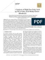 Homogeneous Catalysis of High Free Fatty Acid Waste Cooking Oil to Fatty Acid Methyl Esters (Biodiesel)