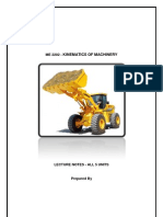 101313389 Kinematics of Machinery Lecturer Notes All 5 Units
