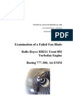 Examination of a Failed Fan Blade Rolls Royce Rb 211 Trent 892 Turbo Fan Engine