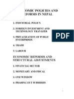 Economic Policies and Reforms in Nepal