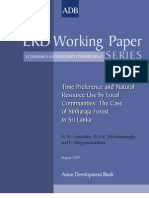 Time Preference and Natural Resource Use by Local Communities