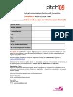 Pitch'09 Registration Form Conference