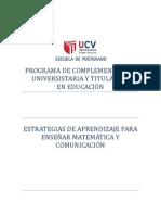 ESTRATEGIAS DE APRENDIZAJE PARA ENSEÑAR MATEMÁTICA Y COMUNICACIÓN - ISUIZA CUELLAR, MIGUEL ANGEL