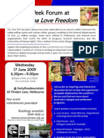 ECCV Refugee Week Forum Flier