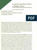 (Fournier y Mondragon, 2003) Haciendas, Ranchos and the Otomi Way of Life