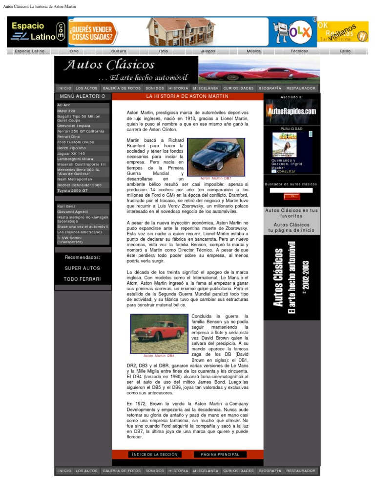 Autos Clasicos La Historia De Aston Martin
