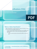 Table of Specifications (TOS)