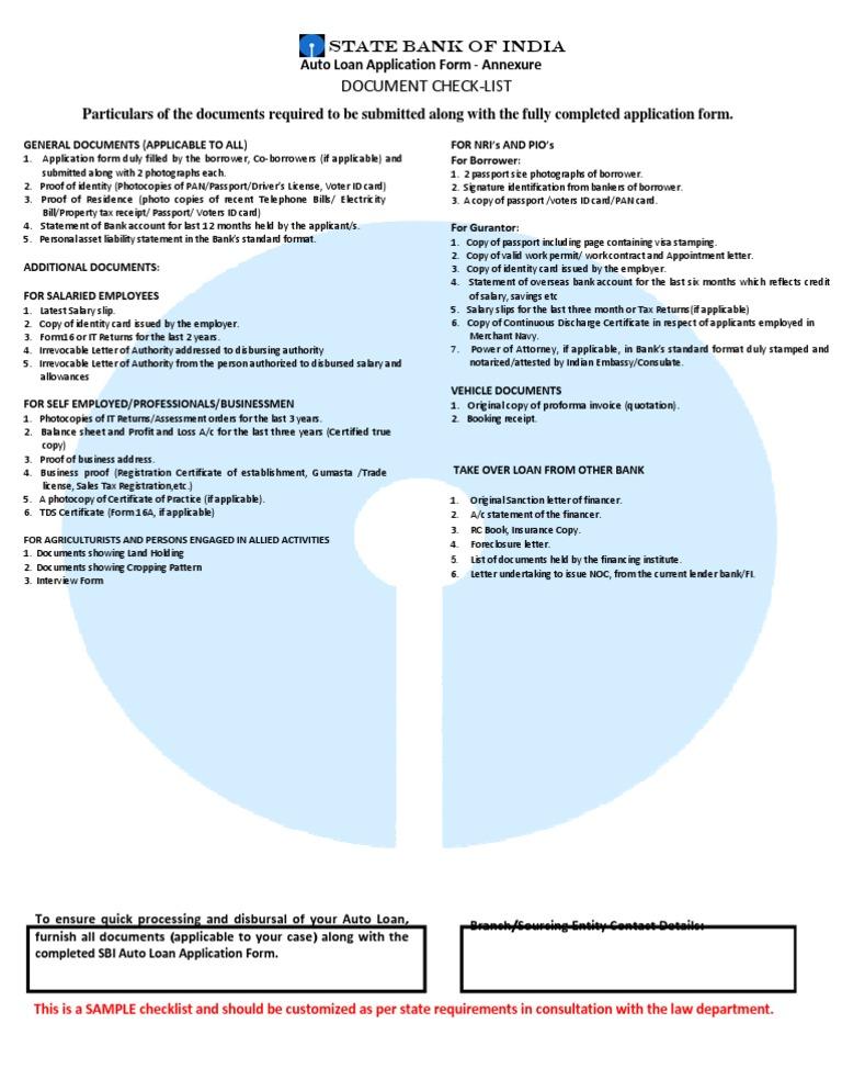 Checlist Car Loan | Identity Document | Loans