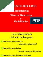 ANÁLISIS DEL DISCURSO - COMPETENCIAS, GÉNEROS DISCURSIVOS Y MODALIDADES
