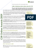 CSR Online Awards 2009 Italy - English Executive Summary