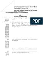 Unofficial translation and consolidation of the Central Bank of Cyprus Laws of 2002-2007