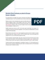 Modelele Dacia preferate pe piata din Europa