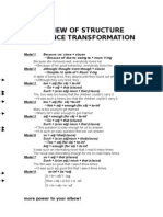 Review of structure sentence transformation