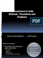 Disinvestments in Indai Processs & Methods