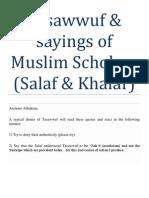 Tasawwuf & Sayings of Muslim Scholars (Salaf & Khalaf)