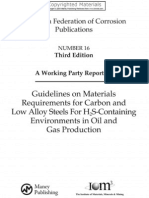 Guidelines on Materials Requirements for Carbon and Low Alloy Steels for H2S Containing Environments in Oil and Gas Production (EFC 16)