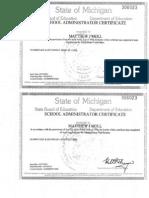 state ofmichigan administrator certificate