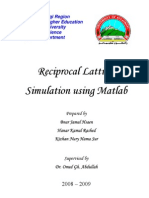 Reciprocal Lattices Simulation Using Matlab