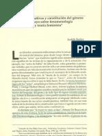 Butler, Actos performativos y constitución del género, un ensayo sobre fenomenología y teoría feminista