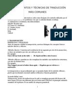 PROCEDIMIENTOS Y TÉCNICAS DE TRADUCCIÓN MÁS COMUNES