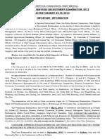 Wbpsc Recruitment Advt 2012