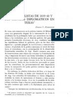 Los Federalistas de 1839-40 y Sus Tanteos Diplomaticos en Texas
