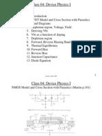 Class 04 Device Physics I
