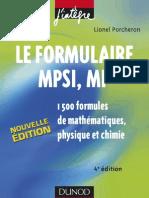 Le Formulaire MPSI-MP 1500 Formules