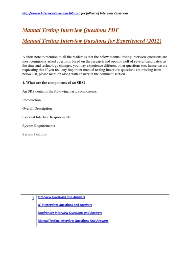 Manual Testing Interview Questions PDF2 | Software Bug | Quality Assurance