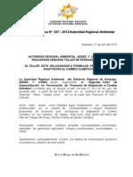 BOLETIN DE PRENSA 027 - 2013 - II TALLER FORMULACION PROYECTOS ADAPTACIÓN AL CC