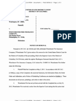 WASHINGTON NATIONALS BASEBALL CLUB LLC v. WESTCHESTER FIRE INSURANCE COMPANY Notice of Removal