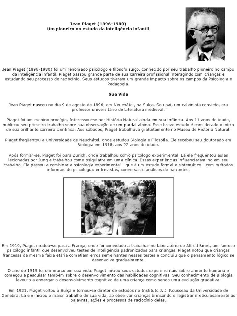 7162a30c47a Jean Piaget Biografia