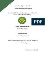 Actualización del Manual de Procedimientos y el Manual de Puestos del Hotel Montaña de Fuego.