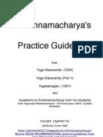 Krishnamacharya's Yoaga Asana Practice Guidelines
