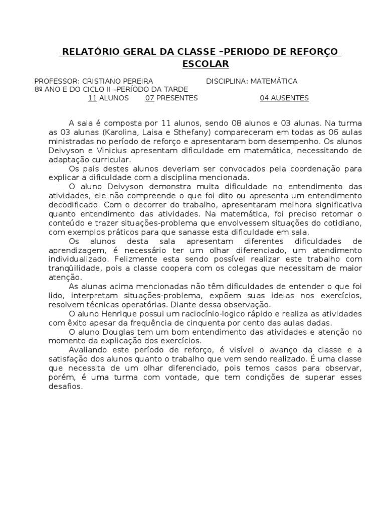 Populares RELATÓRIO GERAL DE CLASSE REFORÇO - 8º ANO ML86
