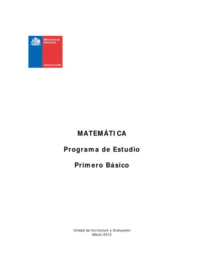 Programa de Estudio 1° básico Matemáticas
