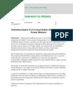 KOMUNIKADO - AZ - Selekshon Junior U-21 Ta Hasi Bishita Di Kortesia Serka Prome Minister