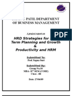 Report on HRD Strategies for long-term Planning & Growth and productivity and HRM