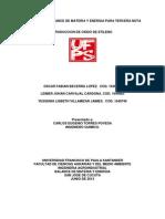 Oxido de Etileno - Balance de Materia y Energia
